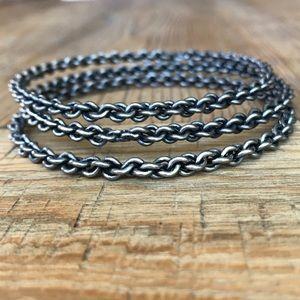 Stackable Silver Chrome Chain Bracelets, set of 3